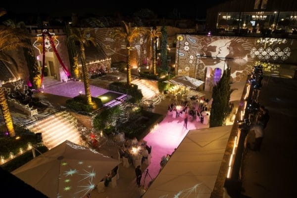 luxury light show by mallorca wedding